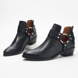 Frye Ray Leather Harness Back Zip Booties | US 9.5